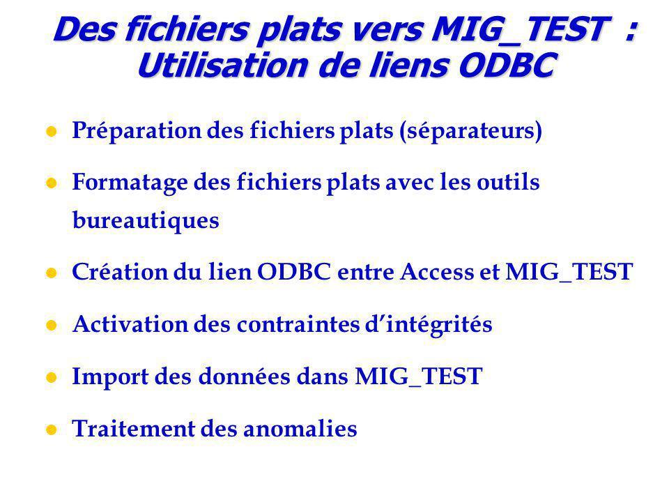 Préparation des fichiers plats (séparateurs) Formatage des fichiers plats avec les outils bureautiques Création du lien ODBC entre Access et MIG_TEST Activation des contraintes d'intégrités Import des données dans MIG_TEST Traitement des anomalies Des fichiers plats vers MIG_TEST : Utilisation de liens ODBC
