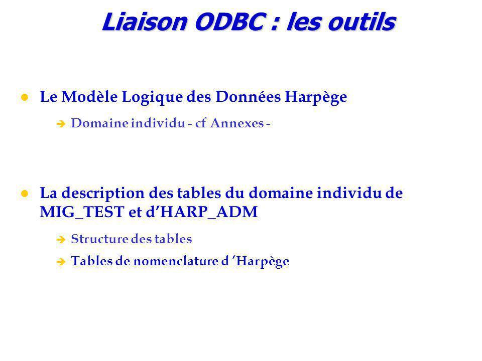 Liaison ODBC : les outils Le Modèle Logique des Données Harpège è Domaine individu - cf Annexes - La description des tables du domaine individu de MIG_TEST et d'HARP_ADM è Structure des tables è Tables de nomenclature d 'Harpège