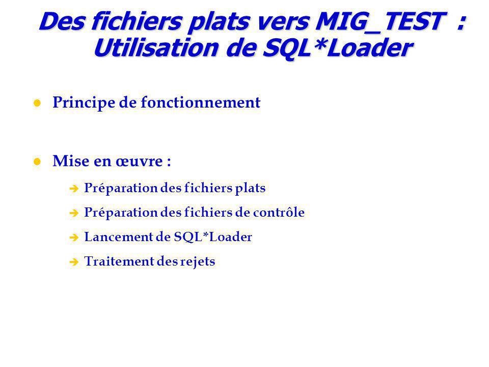 Des fichiers plats vers MIG_TEST : Utilisation de SQL*Loader Principe de fonctionnement Mise en œuvre :  Préparation des fichiers plats  Préparation des fichiers de contrôle  Lancement de SQL*Loader  Traitement des rejets