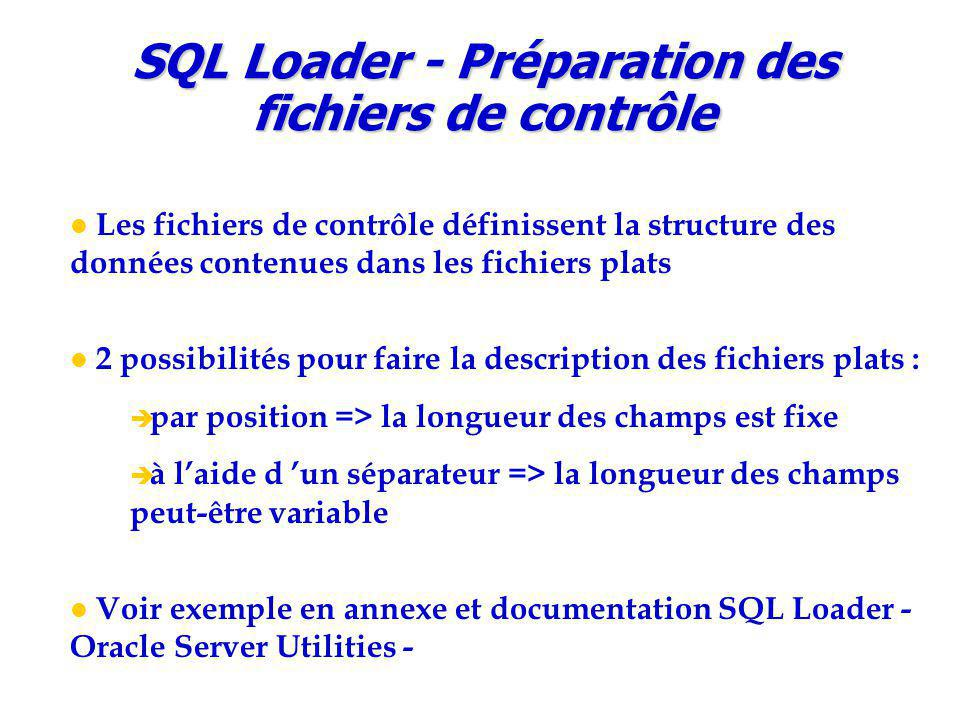 Les fichiers de contrôle définissent la structure des données contenues dans les fichiers plats 2 possibilités pour faire la description des fichiers plats :  par position => la longueur des champs est fixe  à l'aide d 'un séparateur => la longueur des champs peut-être variable Voir exemple en annexe et documentation SQL Loader - Oracle Server Utilities - SQL Loader - Préparation des fichiers de contrôle