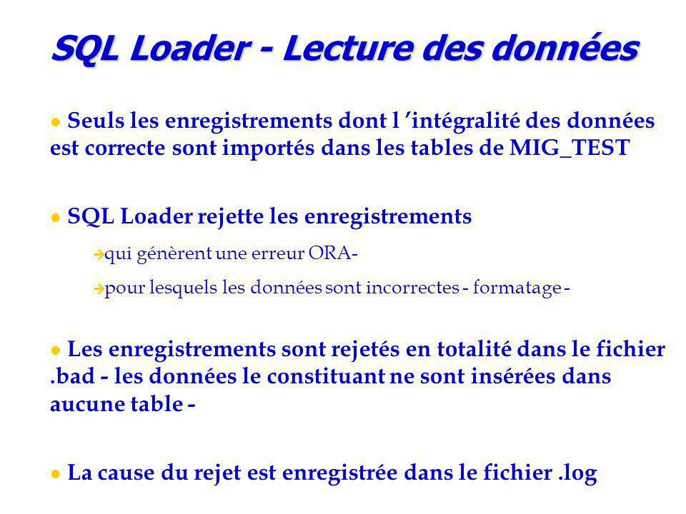 SQL Loader - Lecture des données Seuls les enregistrements dont l 'intégralité des données est correcte sont importés dans les tables de MIG_TEST SQL Loader rejette les enregistrements  qui génèrent une erreur ORA-  pour lesquels les données sont incorrectes - formatage - Les enregistrements sont rejetés en totalité dans le fichier.bad - les données le constituant ne sont insérées dans aucune table - La cause du rejet est enregistrée dans le fichier.log