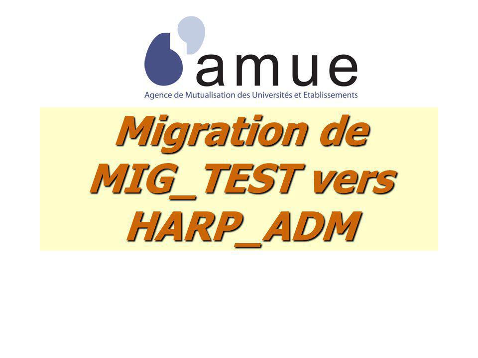 Migration de MIG_TEST vers HARP_ADM