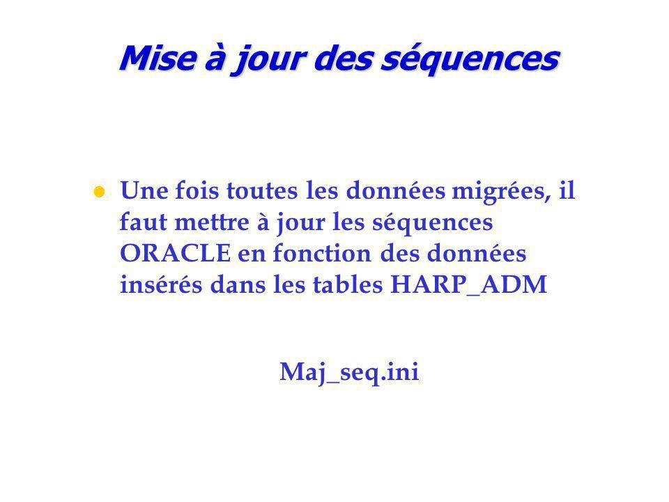 Mise à jour des séquences Une fois toutes les données migrées, il faut mettre à jour les séquences ORACLE en fonction des données insérés dans les tables HARP_ADM Maj_seq.ini