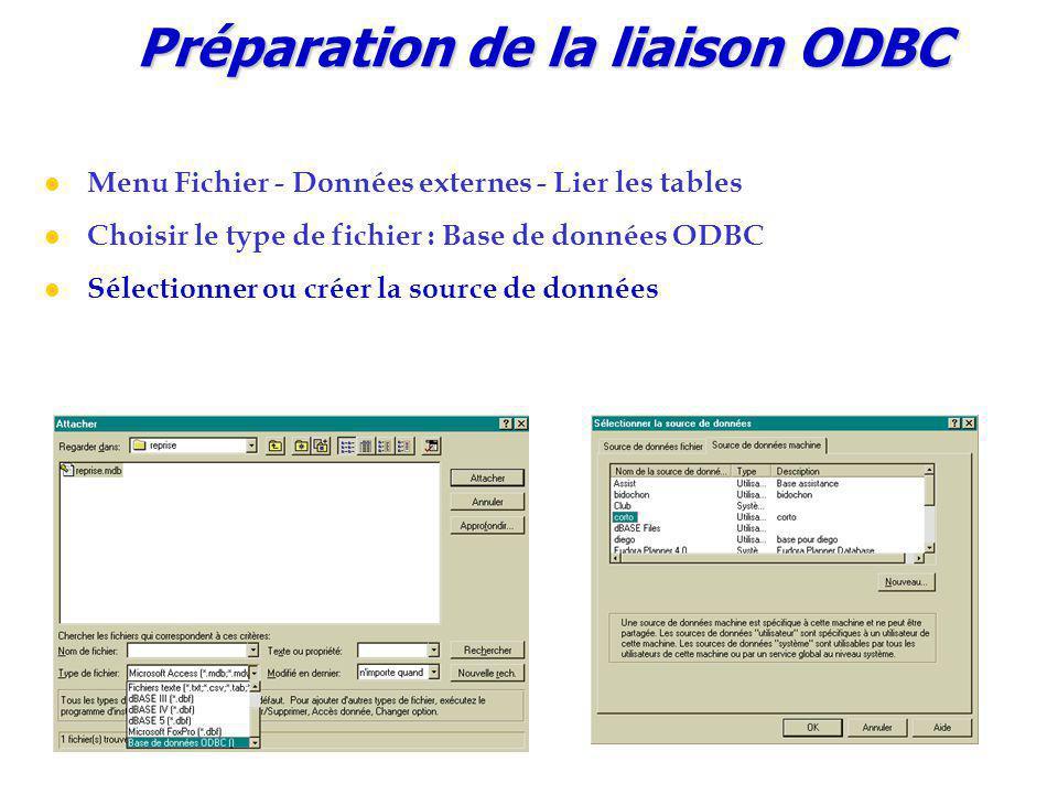 Préparation de la liaison ODBC Menu Fichier - Données externes - Lier les tables Choisir le type de fichier : Base de données ODBC Sélectionner ou créer la source de données