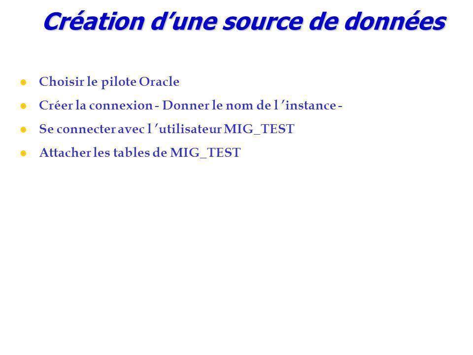 Création d'une source de données Choisir le pilote Oracle Créer la connexion - Donner le nom de l 'instance - Se connecter avec l 'utilisateur MIG_TEST Attacher les tables de MIG_TEST