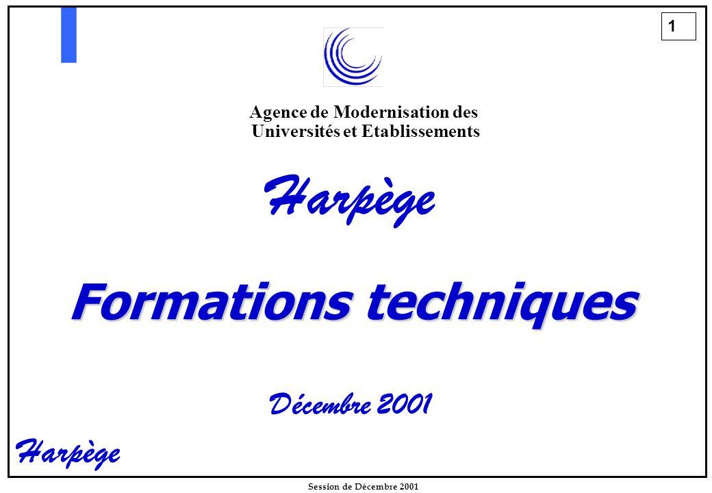 1 Session de Décembre 2001 Harpège Formations techniques Décembre 2001 Agence de Modernisation des Universités et Etablissements