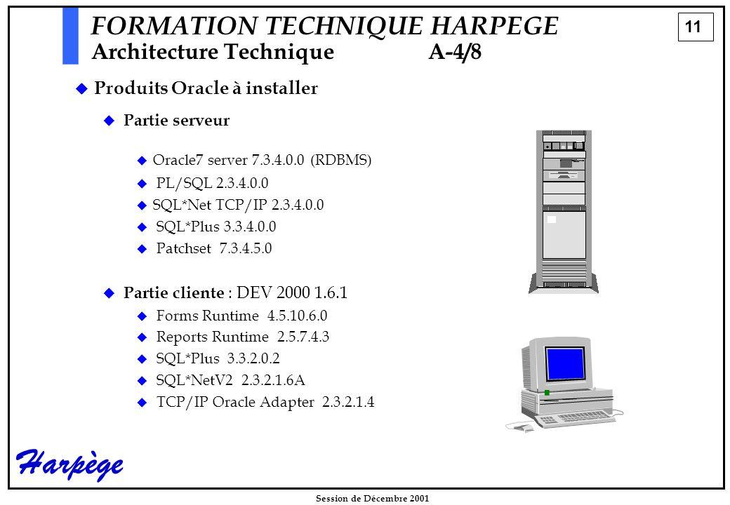 11 Session de Décembre 2001 Harpège FORMATION TECHNIQUE HARPEGE Architecture Technique A-4/8   Partie serveur   Oracle7 server 7.3.4.0.0 (RDBMS)   PL/SQL 2.3.4.0.0   SQL*Net TCP/IP 2.3.4.0.0   SQL*Plus 3.3.4.0.0   Patchset 7.3.4.5.0   Partie cliente : DEV 2000 1.6.1   Forms Runtime 4.5.10.6.0   Reports Runtime 2.5.7.4.3   SQL*Plus 3.3.2.0.2   SQL*NetV2 2.3.2.1.6A   TCP/IP Oracle Adapter 2.3.2.1.4   Produits Oracle à installer