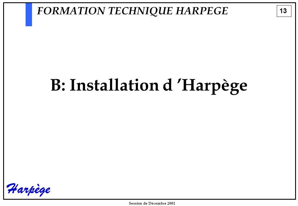 13 Session de Décembre 2001 Harpège B: Installation d 'Harpège FORMATION TECHNIQUE HARPEGE