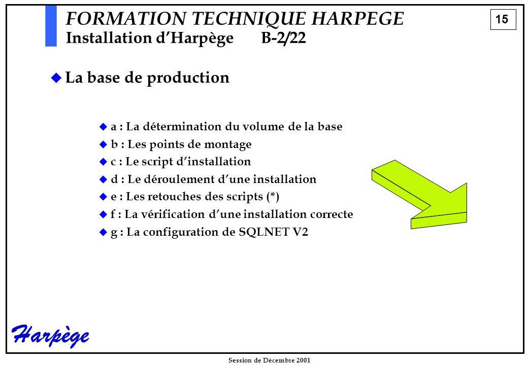 15 Session de Décembre 2001 Harpège FORMATION TECHNIQUE HARPEGE Installation d'HarpègeB-2/22  La base de production  a : La détermination du volume de la base  b : Les points de montage  c : Le script d'installation  d : Le déroulement d'une installation  e : Les retouches des scripts (*)  f : La vérification d'une installation correcte  g : La configuration de SQLNET V2