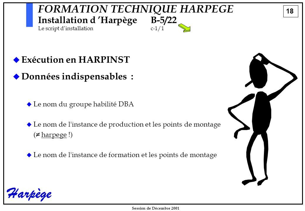 18 Session de Décembre 2001 Harpège FORMATION TECHNIQUE HARPEGE Installation d 'HarpègeB-5/22 Le script d'installationc-1/1   Exécution en HARPINST   Données indispensables :   Le nom du groupe habilité DBA   Le nom de l instance de production et les points de montage (  harpege !)   Le nom de l instance de formation et les points de montage