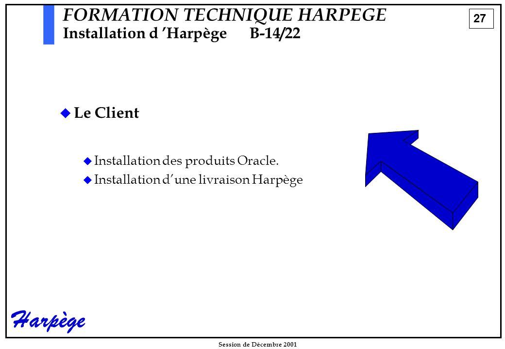 27 Session de Décembre 2001 Harpège FORMATION TECHNIQUE HARPEGE Installation d 'HarpègeB-14/22   Le Client   Installation des produits Oracle.