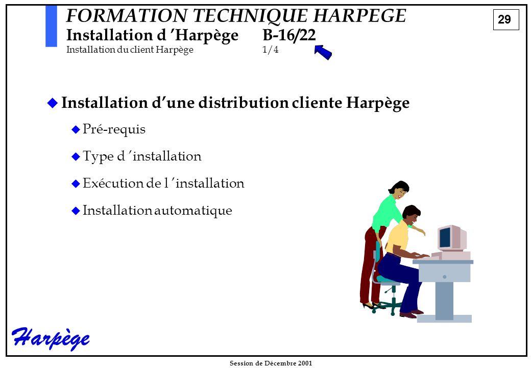29 Session de Décembre 2001 Harpège   Installation d'une distribution cliente Harpège   Pré-requis   Type d 'installation   Exécution de l 'installation   Installation automatique FORMATION TECHNIQUE HARPEGE Installation d 'HarpègeB-16/22 Installation du client Harpège1/4