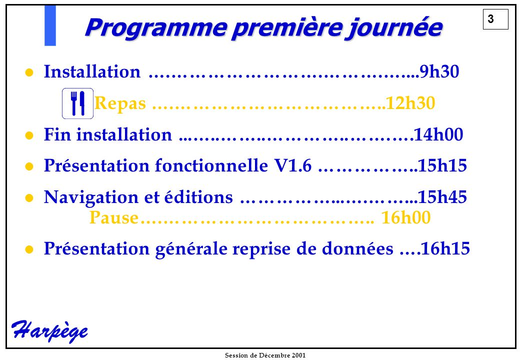 3 Session de Décembre 2001 Harpège Programme première journée Installation ….…………………….……….…....9h30 Repas ….……………………………..12h30 Fin installation...…..……..…………..…….….14h00 Présentation fonctionnelle V1.6 ……………..15h15 Navigation et éditions ……………...….……...15h45 Pause….……………………………..