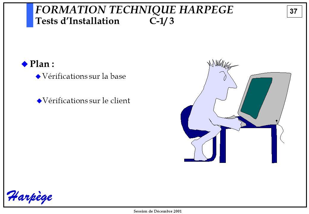 37 Session de Décembre 2001 Harpège  Plan :  Vérifications sur la base FORMATION TECHNIQUE HARPEGE Tests d'InstallationC-1/ 3   Vérifications sur le client