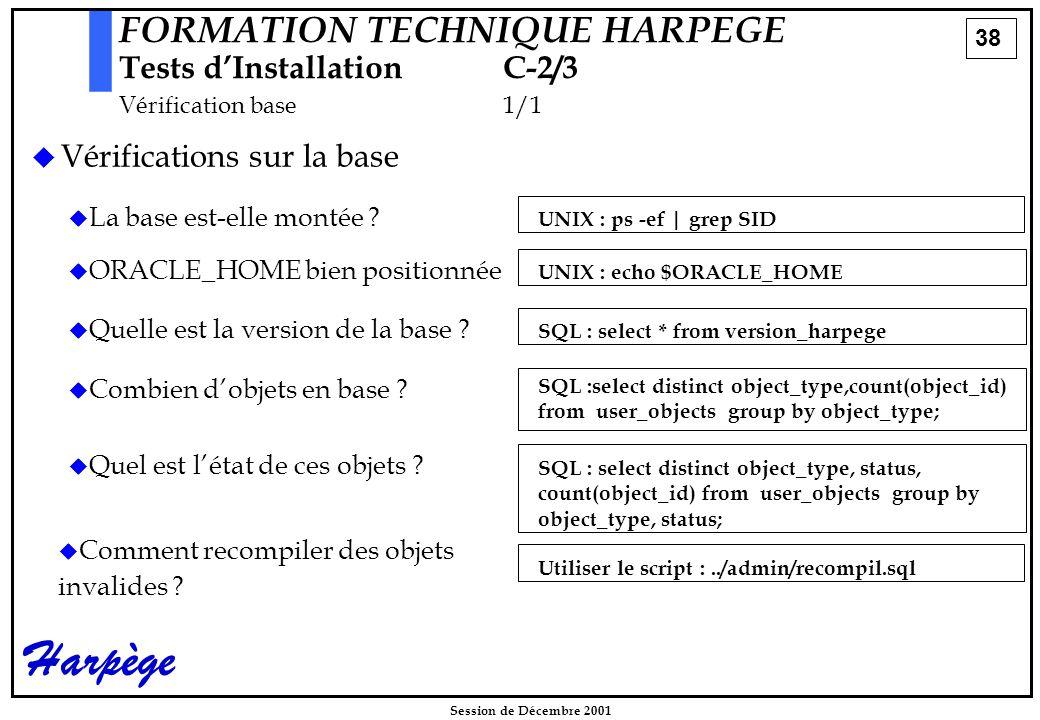 38 Session de Décembre 2001 Harpège FORMATION TECHNIQUE HARPEGE Tests d'InstallationC-2/3 Vérification base1/1  Vérifications sur la base   La base est-elle montée .
