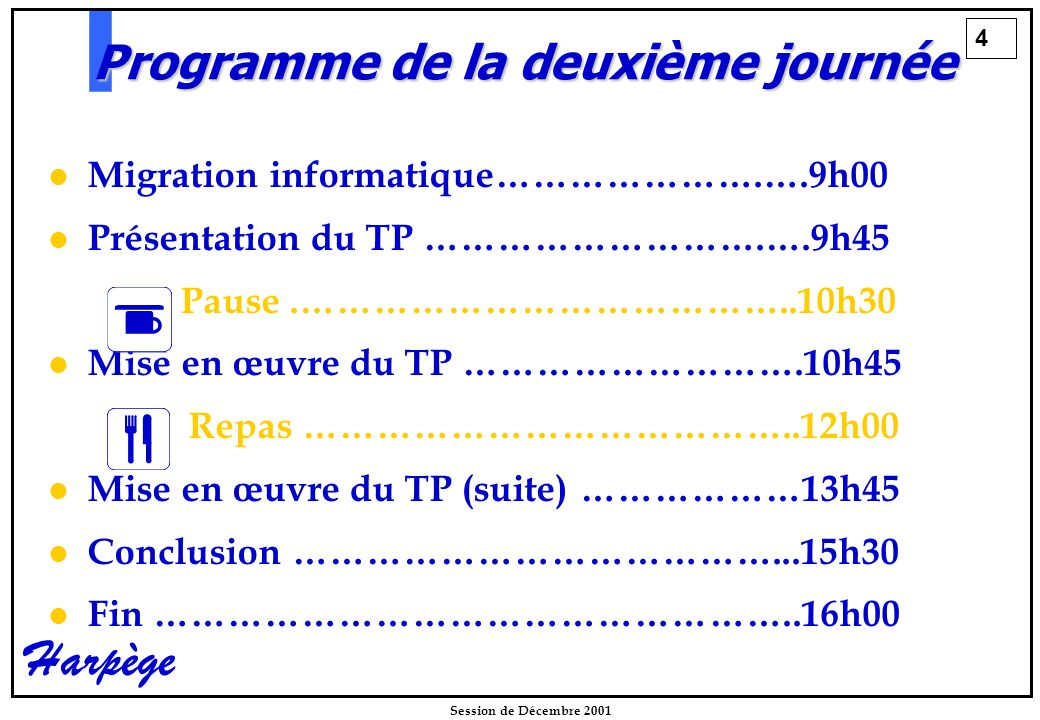 4 Session de Décembre 2001 Harpège Programme de la deuxième journée Migration informatique………………….….9h00 Présentation du TP ……………………….….9h45   Pause.…………………………………..10h30 Mise en œuvre du TP ……………………….10h45 Repas …………………………………..12h00 Mise en œuvre du TP (suite) ………………13h45 Conclusion …………………………………...15h30 Fin ……………………………………………..16h00