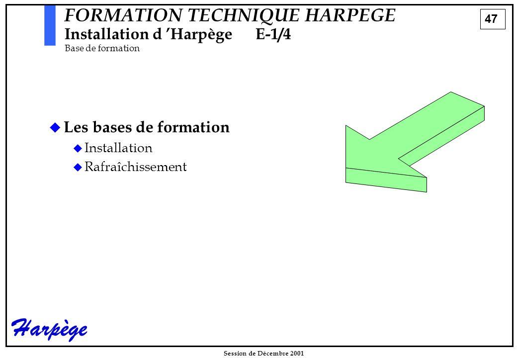 47 Session de Décembre 2001 Harpège FORMATION TECHNIQUE HARPEGE Installation d 'HarpègeE-1/4 Base de formation   Les bases de formation   Installation   Rafraîchissement