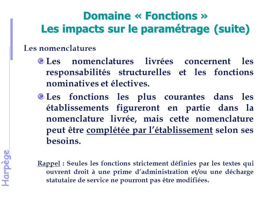 Harpège Domaine « Fonctions » Les impacts sur le paramétrage (suite) Les nomenclatures Les nomenclatures livrées concernent les responsabilités structurelles et les fonctions nominatives et électives.