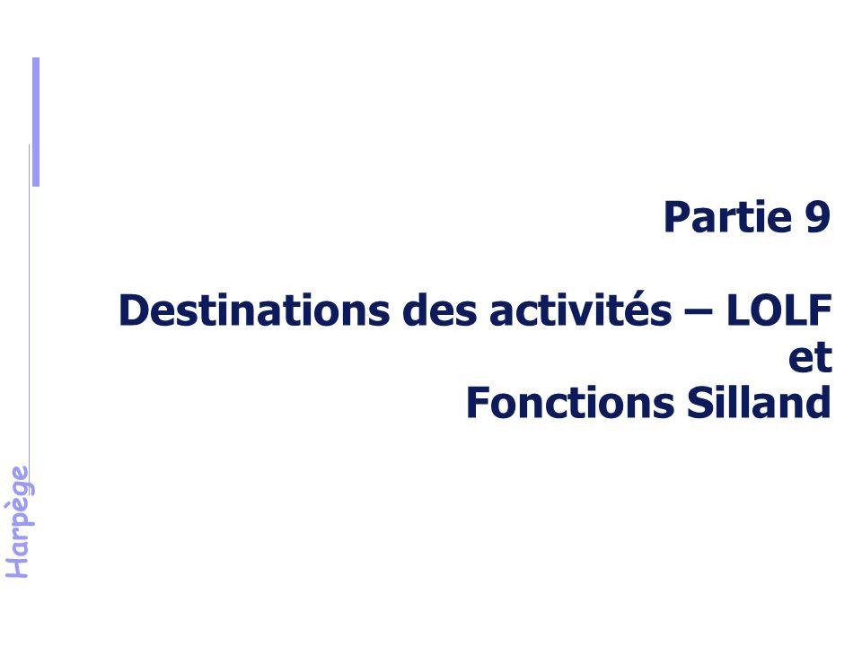 Harpège Partie 9 Destinations des activités – LOLF et Fonctions Silland