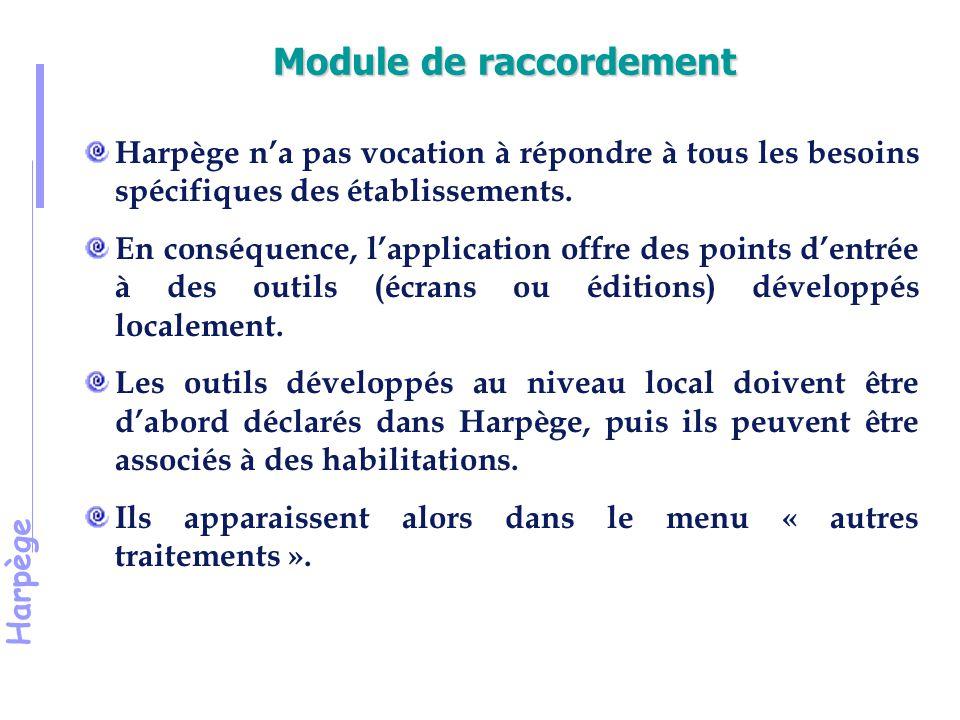 Harpège Module de raccordement Harpège n'a pas vocation à répondre à tous les besoins spécifiques des établissements.