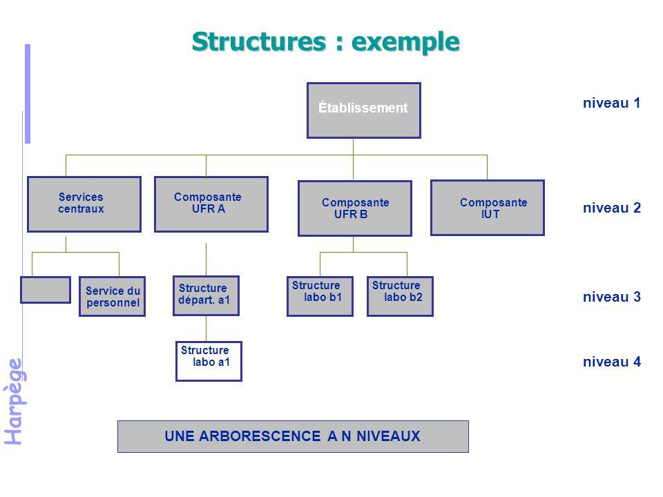 Harpège Structures : exemple UNE ARBORESCENCE A N NIVEAUX Établissement Composante UFR A Composante IUT Structure labo b1 Structure départ.