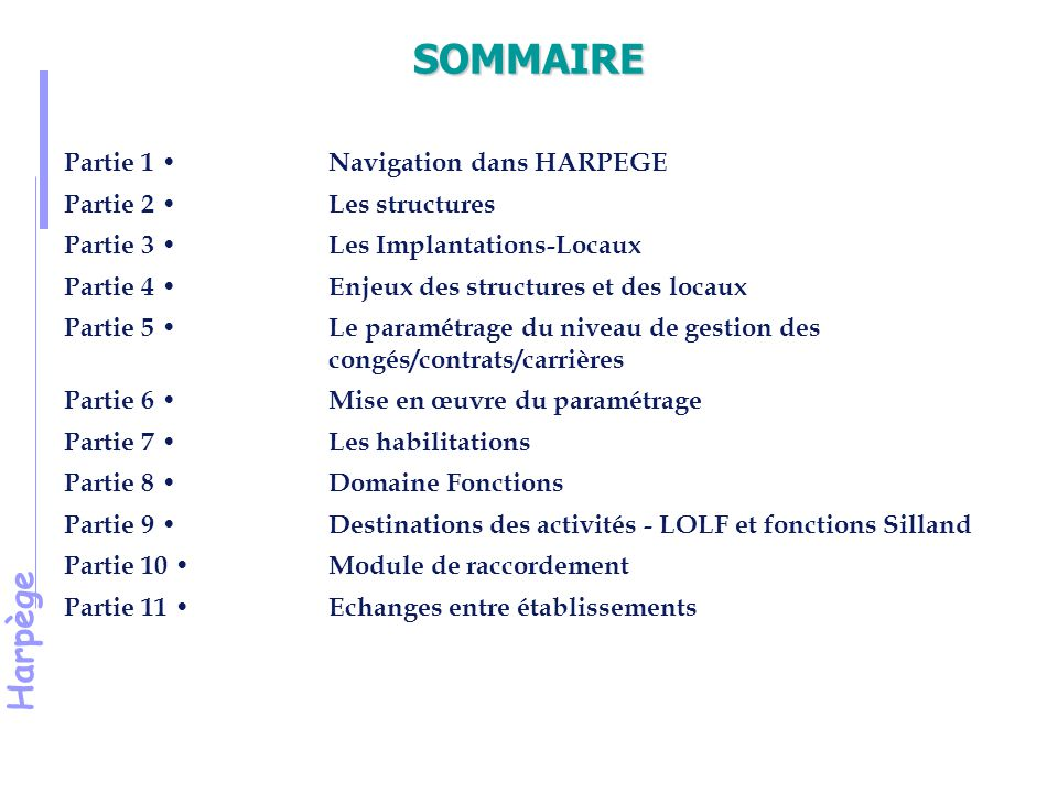 Harpège Le paramétrage des contrats / carrières Le paramétrage concerne deux points : A : Le niveau de gestion en fonction du type de contrat ou du type de pop.