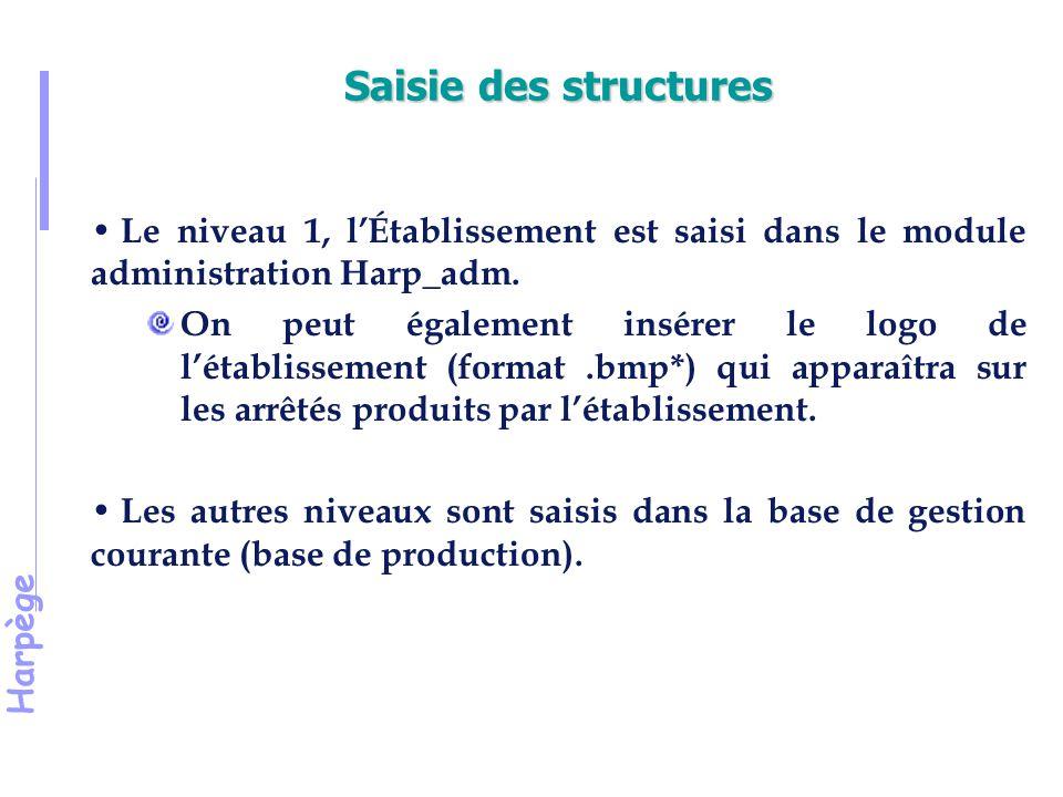 Harpège Le niveau 1, l'Établissement est saisi dans le module administration Harp_adm.