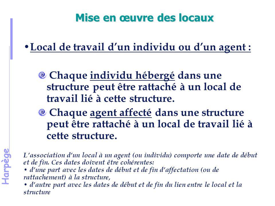 Harpège Mise en œuvre des locaux Local de travail d'un individu ou d'un agent : Chaque individu hébergé dans une structure peut être rattaché à un local de travail lié à cette structure.