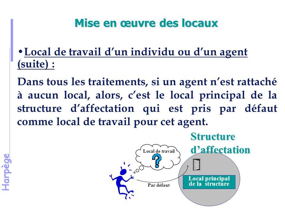 Harpège Mise en œuvre des locaux Local de travail d'un individu ou d'un agent (suite) : Dans tous les traitements, si un agent n'est rattaché à aucun local, alors, c'est le local principal de la structure d'affectation qui est pris par défaut comme local de travail pour cet agent.