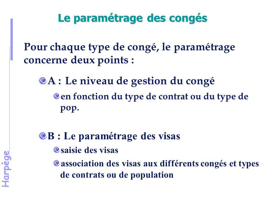 Harpège Le paramétrage des congés Pour chaque type de congé, le paramétrage concerne deux points : A : Le niveau de gestion du congé en fonction du type de contrat ou du type de pop.