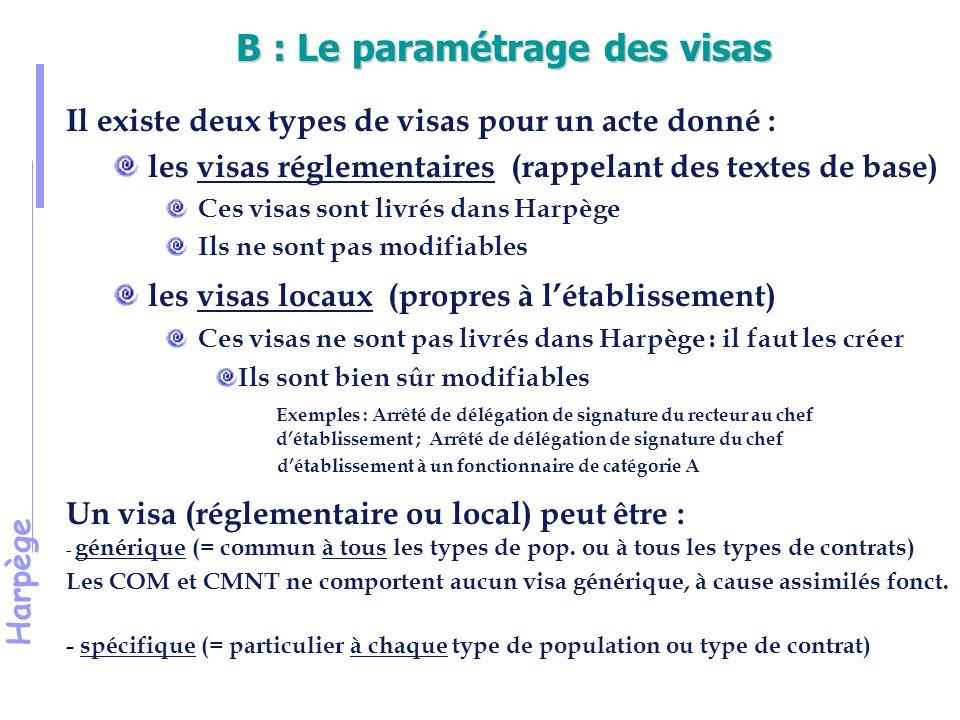 Harpège B : Le paramétrage des visas Il existe deux types de visas pour un acte donné : les visas réglementaires (rappelant des textes de base) Ces visas sont livrés dans Harpège Ils ne sont pas modifiables les visas locaux (propres à l'établissement) Ces visas ne sont pas livrés dans Harpège : il faut les créer Ils sont bien sûr modifiables Exemples : Arrêté de délégation de signature du recteur au chef d'établissement ; Arrêté de délégation de signature du chef d'établissement à un fonctionnaire de catégorie A Un visa (réglementaire ou local) peut être : - générique (= commun à tous les types de pop.
