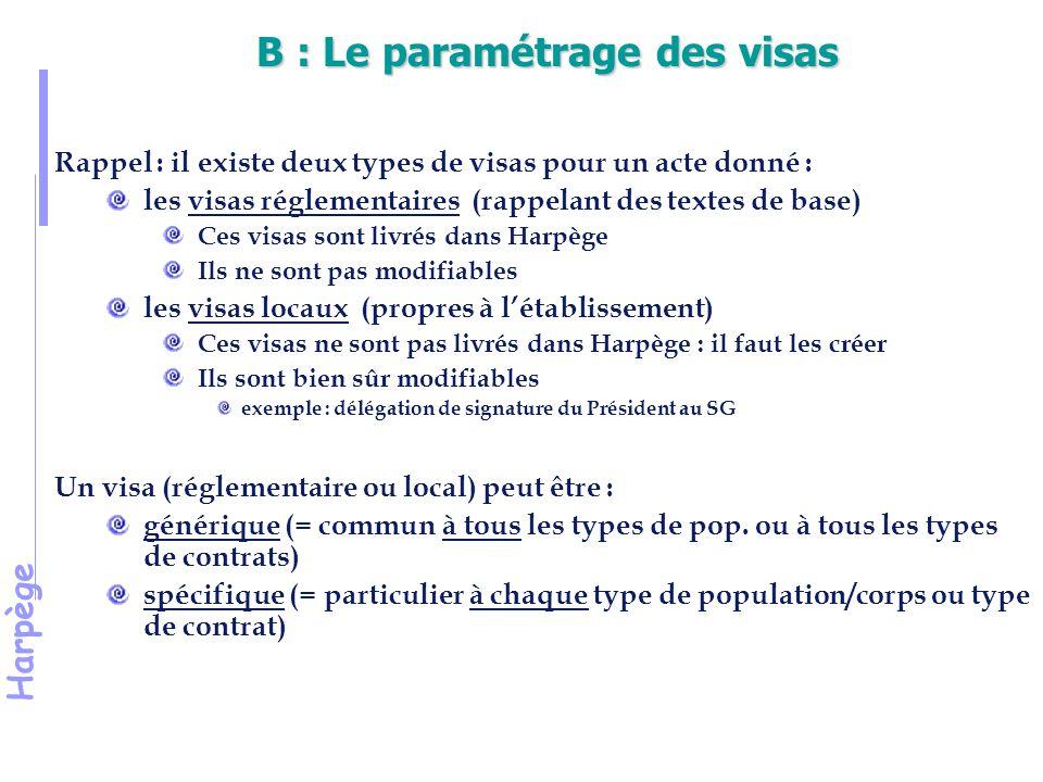 Harpège B : Le paramétrage des visas Rappel : il existe deux types de visas pour un acte donné : les visas réglementaires (rappelant des textes de base) Ces visas sont livrés dans Harpège Ils ne sont pas modifiables les visas locaux (propres à l'établissement) Ces visas ne sont pas livrés dans Harpège : il faut les créer Ils sont bien sûr modifiables exemple : délégation de signature du Président au SG Un visa (réglementaire ou local) peut être : générique (= commun à tous les types de pop.