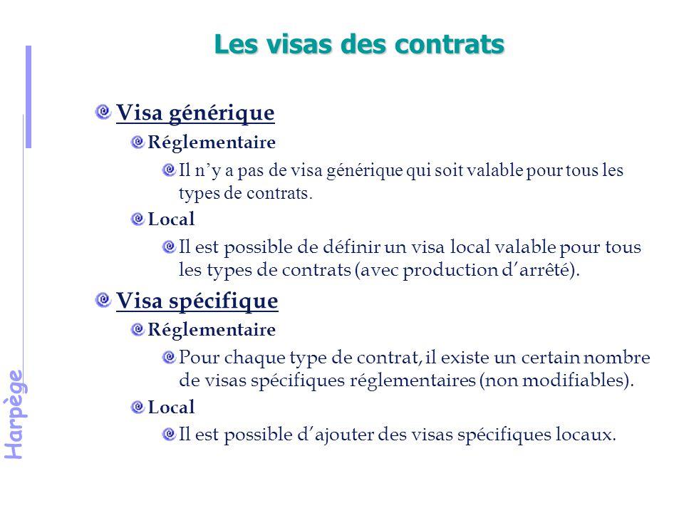 Harpège Les visas des contrats Visa générique Réglementaire Il n'y a pas de visa générique qui soit valable pour tous les types de contrats.
