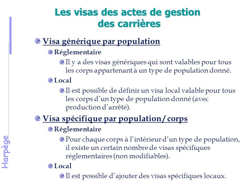 Harpège Les visas des actes de gestion des carrières Visa générique par population Réglementaire Il y a des visas génériques qui sont valables pour tous les corps appartenant à un type de population donné.