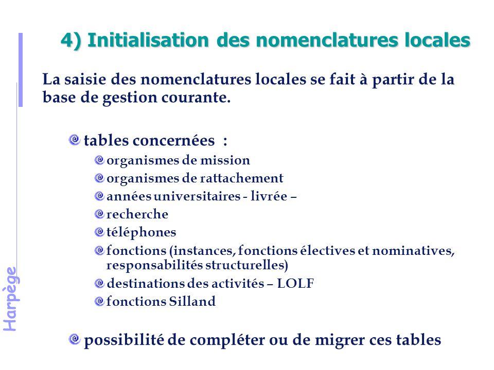 Harpège 4) Initialisation des nomenclatures locales La saisie des nomenclatures locales se fait à partir de la base de gestion courante.