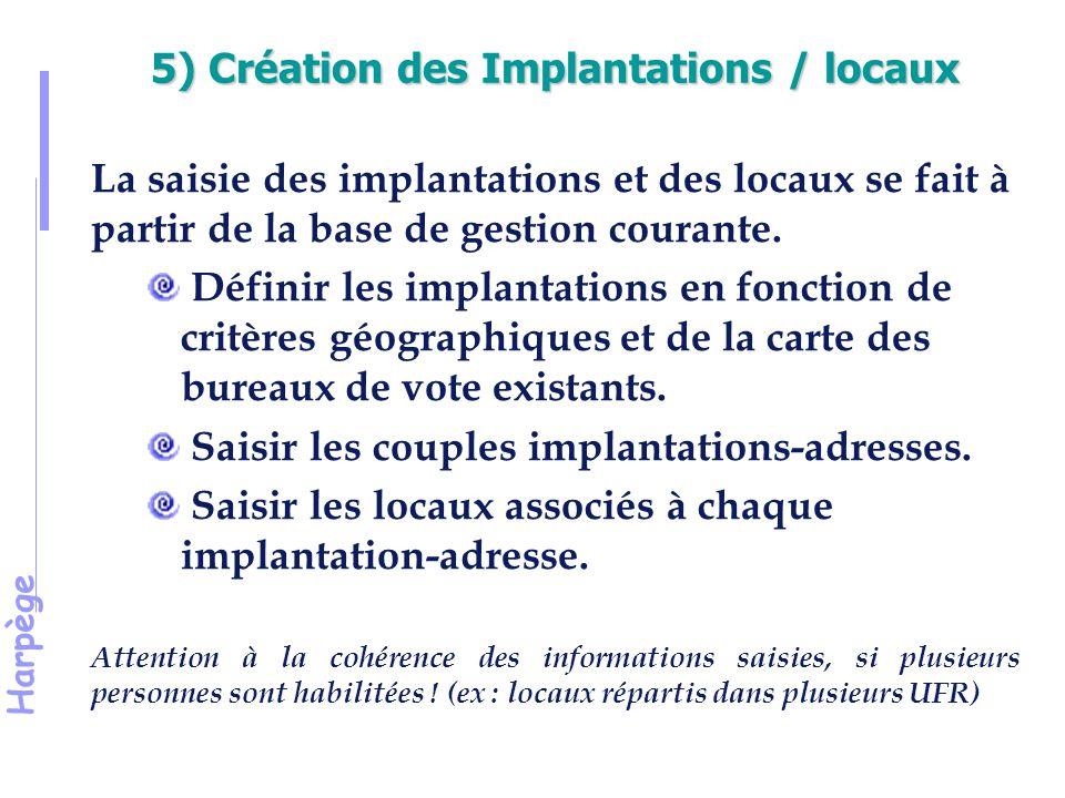 Harpège 5) Création des Implantations / locaux La saisie des implantations et des locaux se fait à partir de la base de gestion courante.