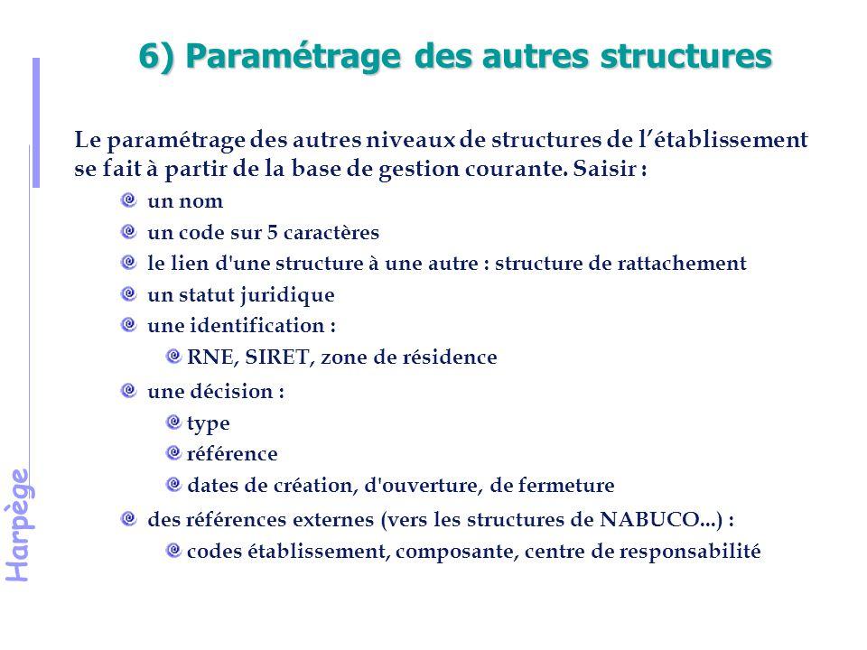 Harpège 6) Paramétrage des autres structures Le paramétrage des autres niveaux de structures de l'établissement se fait à partir de la base de gestion courante.