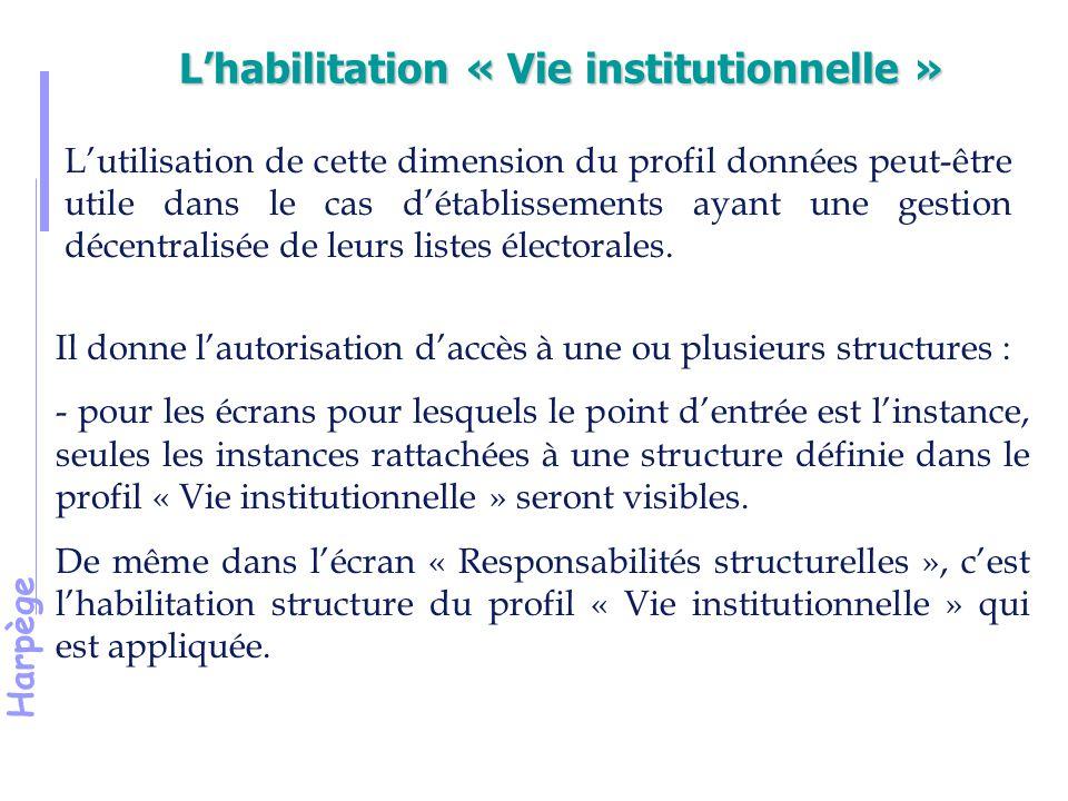 Harpège L'habilitation « Vie institutionnelle » L'utilisation de cette dimension du profil données peut-être utile dans le cas d'établissements ayant une gestion décentralisée de leurs listes électorales.