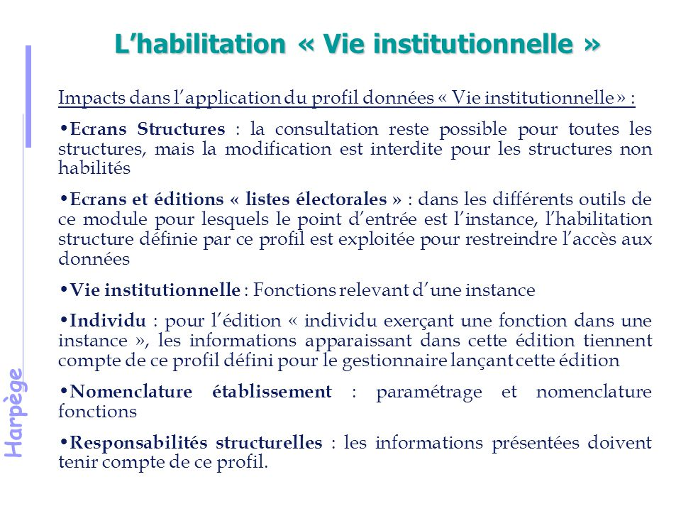 Harpège L'habilitation « Vie institutionnelle » Impacts dans l'application du profil données « Vie institutionnelle » : Ecrans Structures : la consult