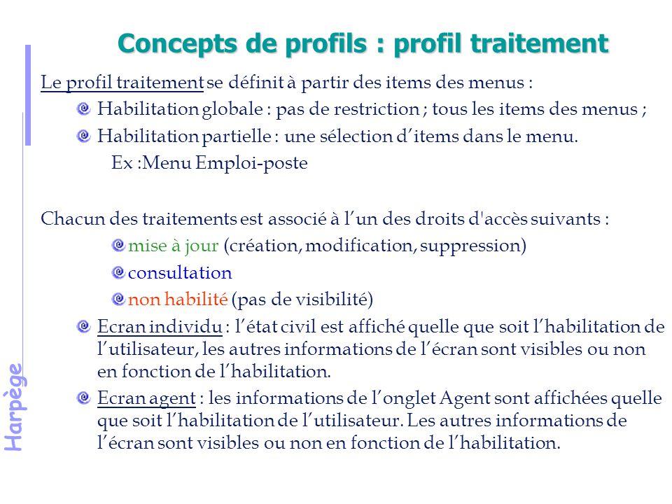Harpège Concepts de profils : profil traitement Le profil traitement se définit à partir des items des menus : Habilitation globale : pas de restriction ; tous les items des menus ; Habilitation partielle : une sélection d'items dans le menu.