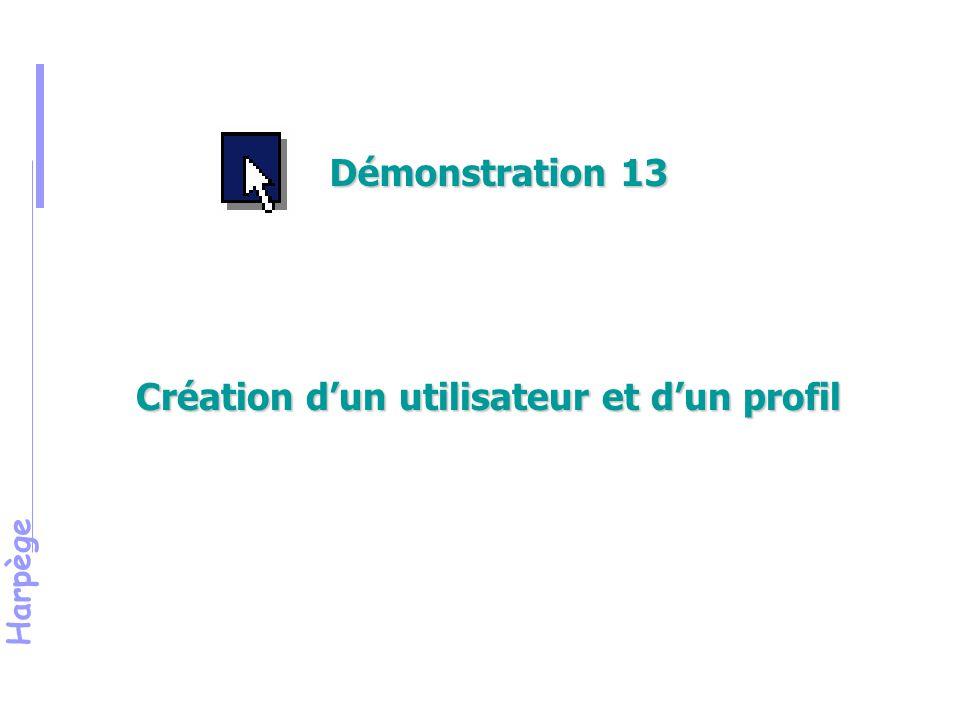 Harpège Création d'un utilisateur et d'un profil Démonstration 13