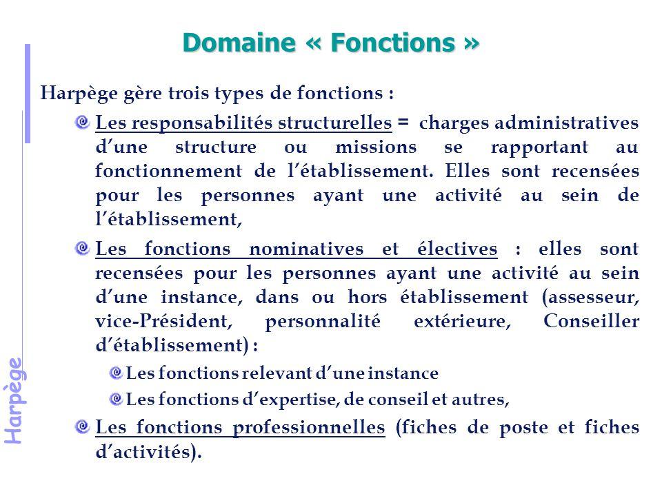 Harpège Domaine « Fonctions » Harpège gère trois types de fonctions : Les responsabilités structurelles = charges administratives d'une structure ou missions se rapportant au fonctionnement de l'établissement.