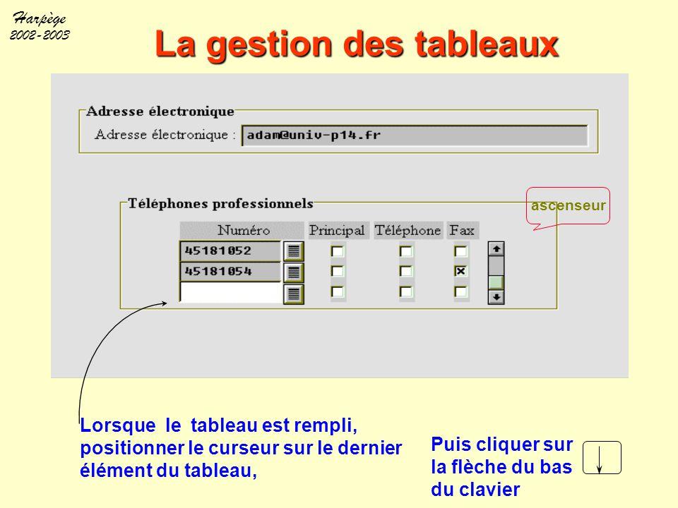 Harpège 2002-2003 La gestion des tableaux Lorsque le tableau est rempli, positionner le curseur sur le dernier élément du tableau, ascenseur Puis cliq