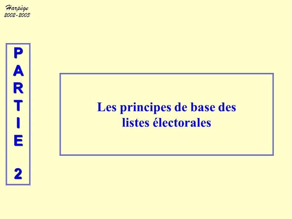 Harpège 2002-2003 PARTIE2 Les principes de base des listes électorales