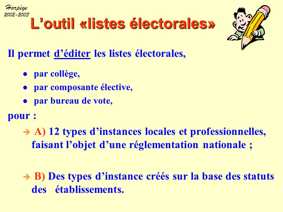 Harpège 2002-2003 L'outil «listes électorales» Il permet d'éditer les listes électorales, par collège, par composante élective, par bureau de vote, po