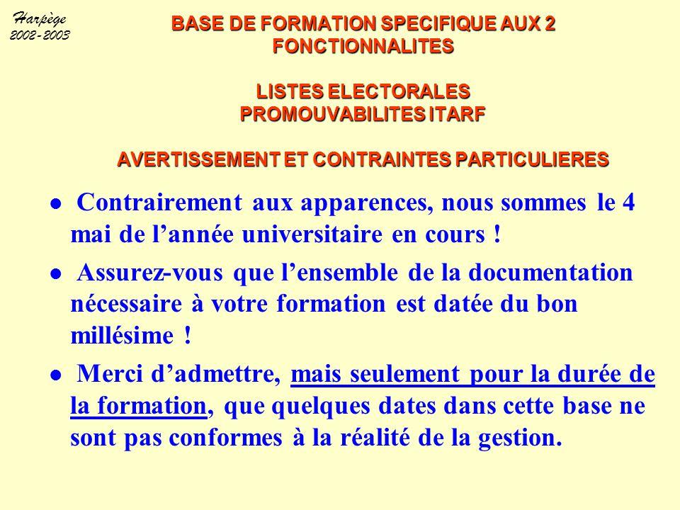Harpège 2002-2003 BASE DE FORMATION SPECIFIQUE AUX 2 FONCTIONNALITES LISTES ELECTORALES PROMOUVABILITES ITARF AVERTISSEMENT ET CONTRAINTES PARTICULIER