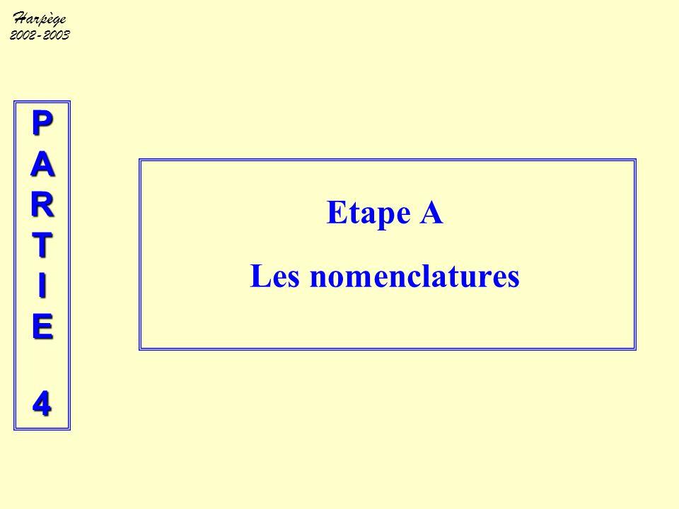 Harpège 2002-2003 PARTIE4 Etape A Les nomenclatures