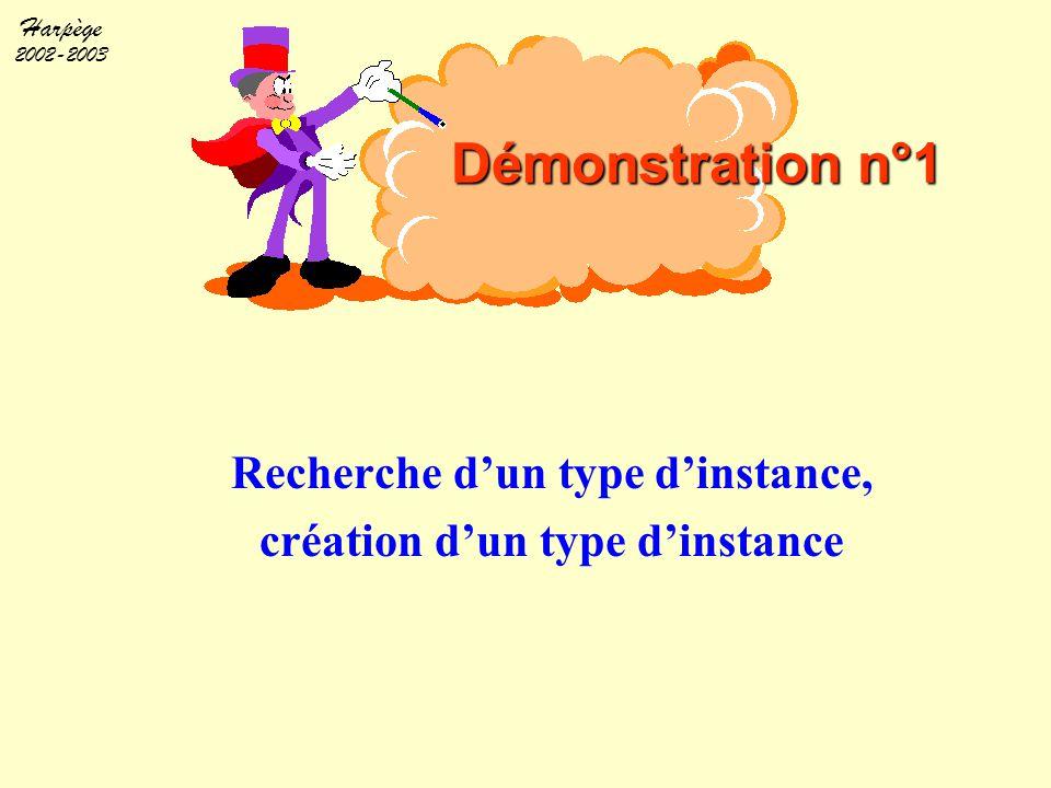 Harpège 2002-2003 Démonstration n°1 Recherche d'un type d'instance, création d'un type d'instance