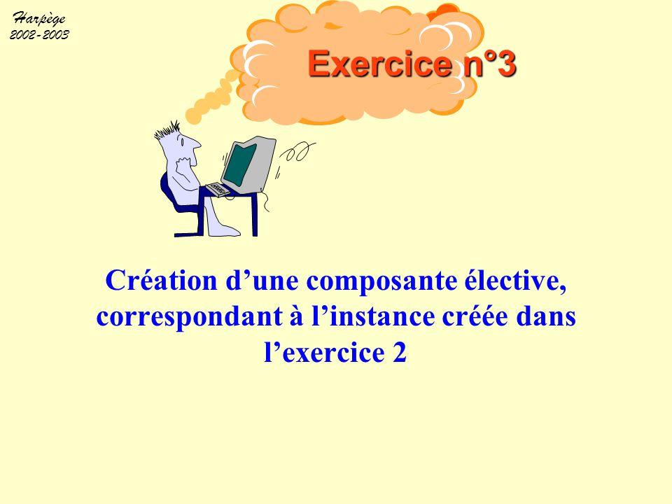 Harpège 2002-2003 Création d'une composante élective, correspondant à l'instance créée dans l'exercice 2 Exercice n°3