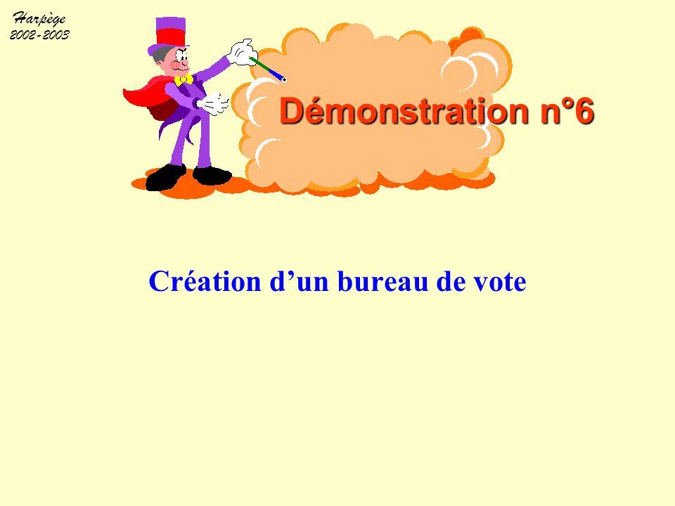 Harpège 2002-2003 Création d'un bureau de vote Démonstration n°6